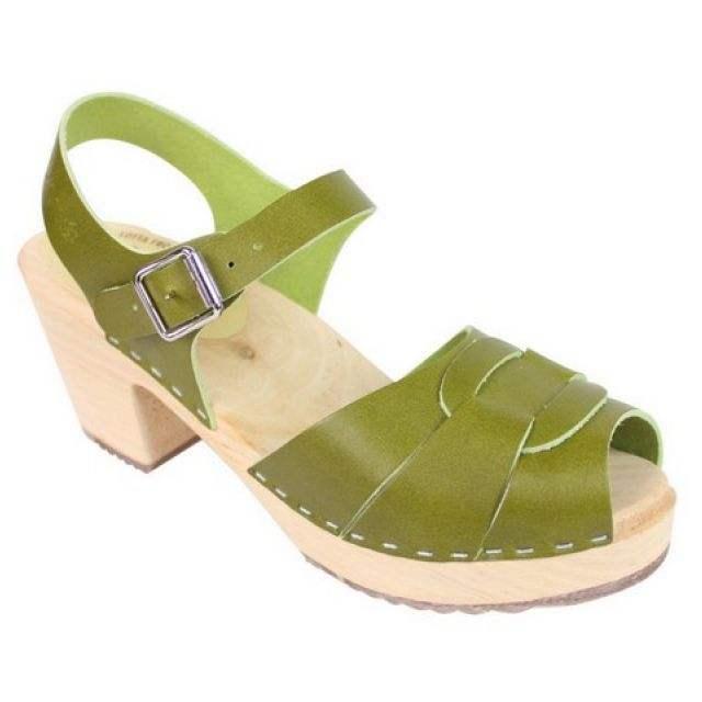 groen - hoge klompjes peep toe (mt 37) - Merk: Lotta from Stockholm