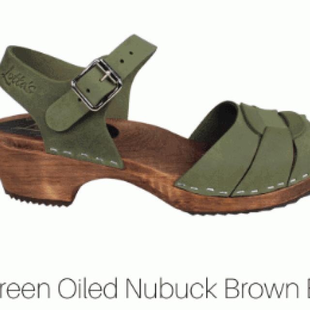 groen nububck - lage klompjes peep toe brown base - Merk: Lotta from Stockholm