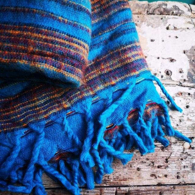 blauw ~ oker - omslagdoek ~ meditatiedeken